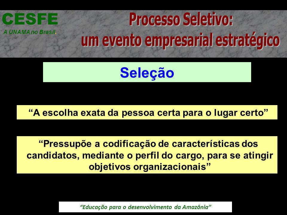 Educação para o desenvolvimento da Amazônia Seleção CESFE A UNAMA no Brasil. A escolha exata da pessoa certa para o lugar certo Pressupõe a codificaçã