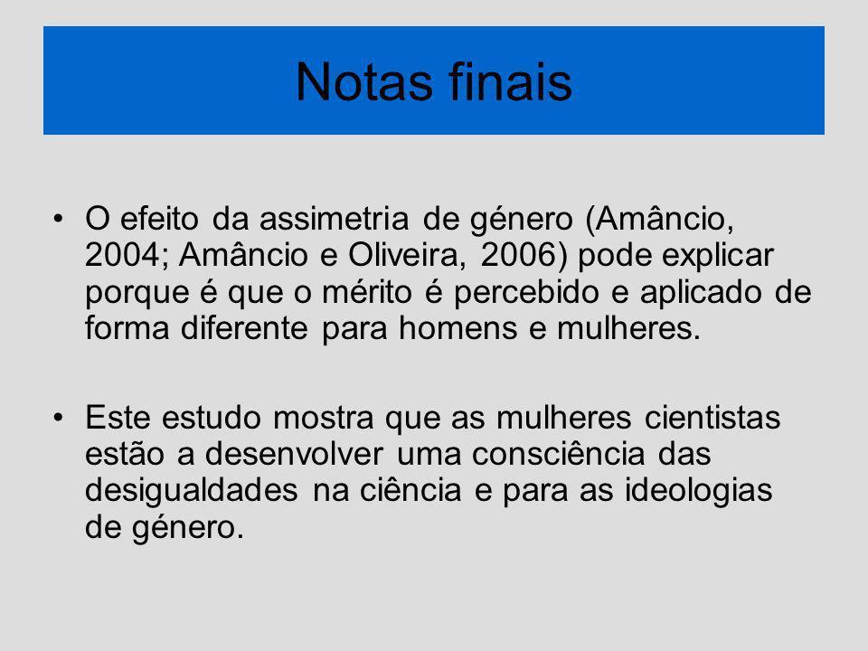 Notas finais O efeito da assimetria de género (Amâncio, 2004; Amâncio e Oliveira, 2006) pode explicar porque é que o mérito é percebido e aplicado de forma diferente para homens e mulheres.