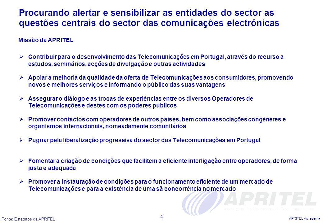 APRITEL Apresenta 4 Procurando alertar e sensibilizar as entidades do sector as questões centrais do sector das comunicações electrónicas Contribuir p