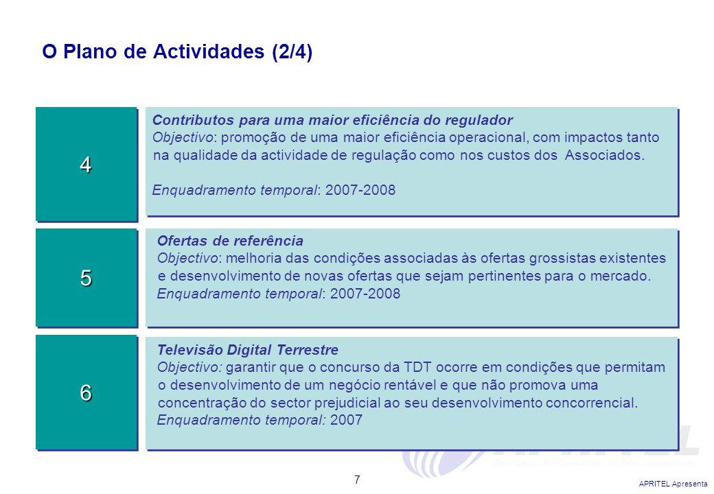 APRITEL Apresenta 7 O Plano de Actividades (2/4) Contributos para uma maior eficiência do regulador Objectivo: promoção de uma maior eficiência operac