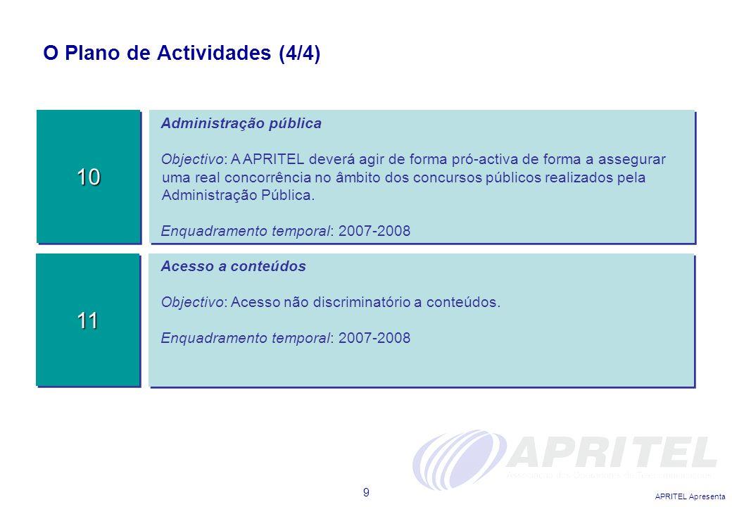APRITEL Apresenta 9 O Plano de Actividades (4/4) Administração pública Objectivo: A APRITEL deverá agir de forma pró-activa de forma a assegurar uma r