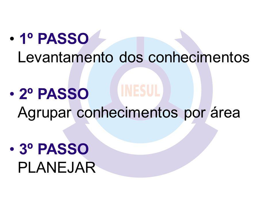 1º PASSO Levantamento dos conhecimentos 2º PASSO Agrupar conhecimentos por área 3º PASSO PLANEJAR