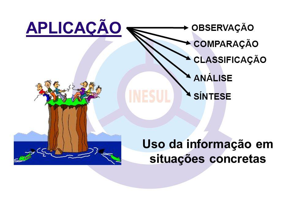 APLICAÇÃO COMPARAÇÃO CLASSIFICAÇÃO ANÁLISE SÍNTESE OBSERVAÇÃO Uso da informação em situações concretas