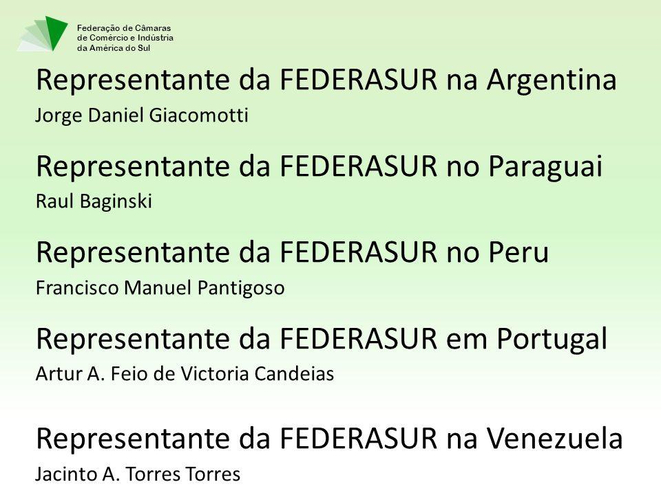Federação de Câmaras de Comércio e Indústria da América do Sul Representante da FEDERASUR na Argentina Jorge Daniel Giacomotti Representante da FEDERA