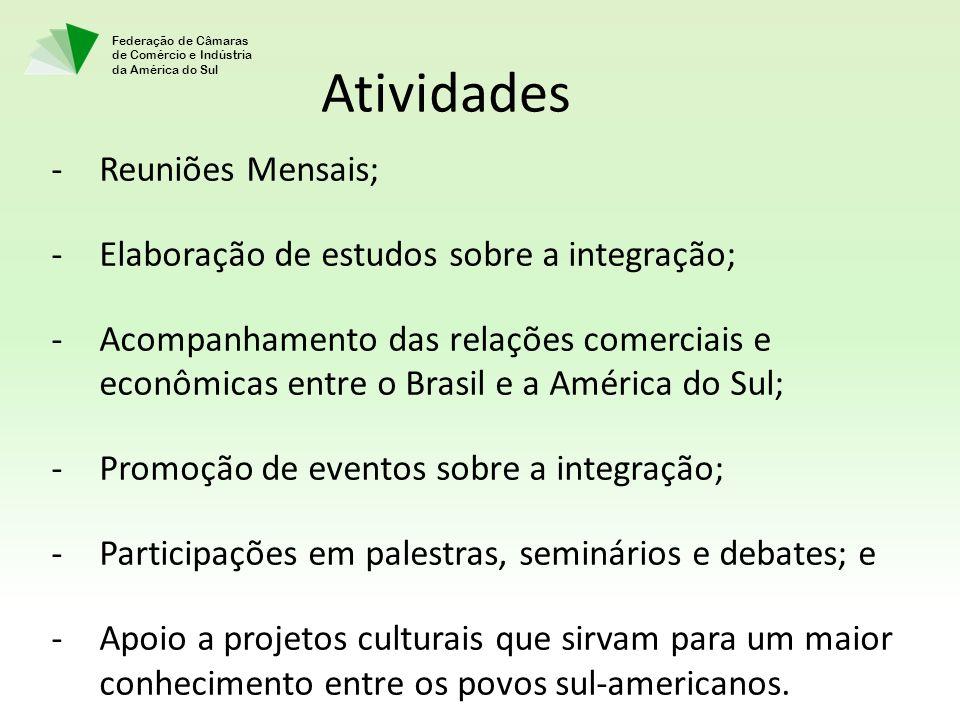 Federação de Câmaras de Comércio e Indústria da América do Sul Atividades -Reuniões Mensais; -Elaboração de estudos sobre a integração; -Acompanhament