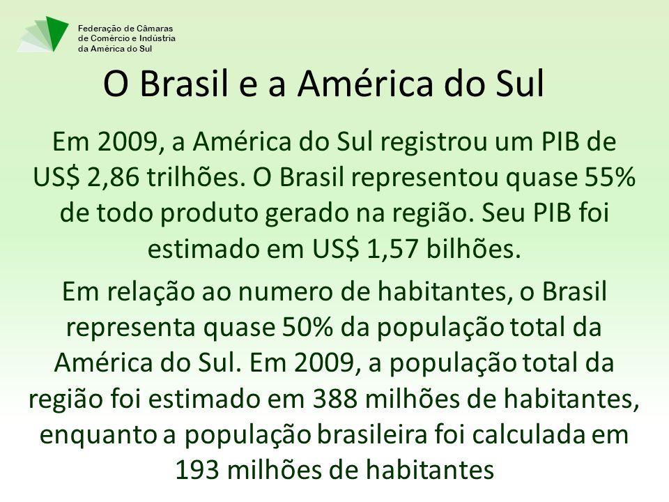 Federação de Câmaras de Comércio e Indústria da América do Sul O Brasil e a América do Sul Em 2009, a América do Sul registrou um PIB de US$ 2,86 tril
