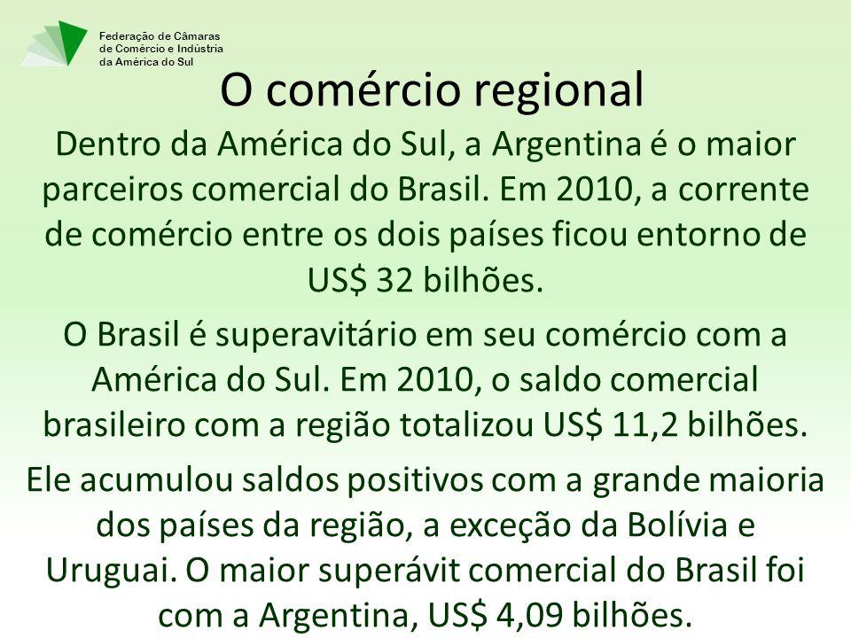 Federação de Câmaras de Comércio e Indústria da América do Sul Dentro da América do Sul, a Argentina é o maior parceiros comercial do Brasil. Em 2010,