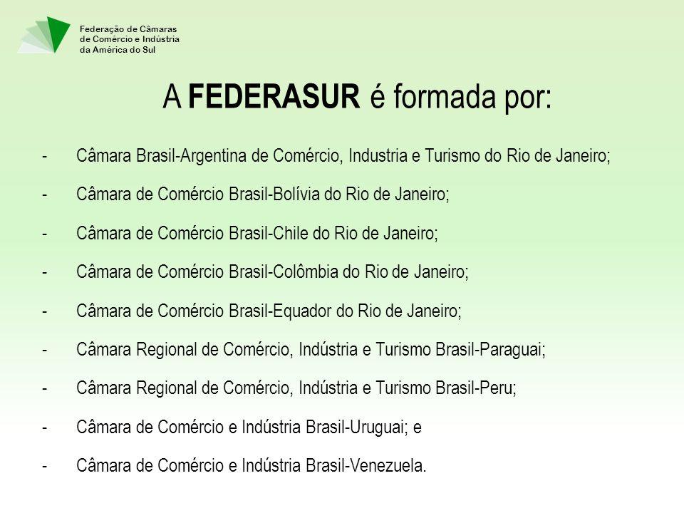 Federação de Câmaras de Comércio e Indústria da América do Sul A FEDERASUR é formada por: -Câmara Brasil-Argentina de Comércio, Industria e Turismo do