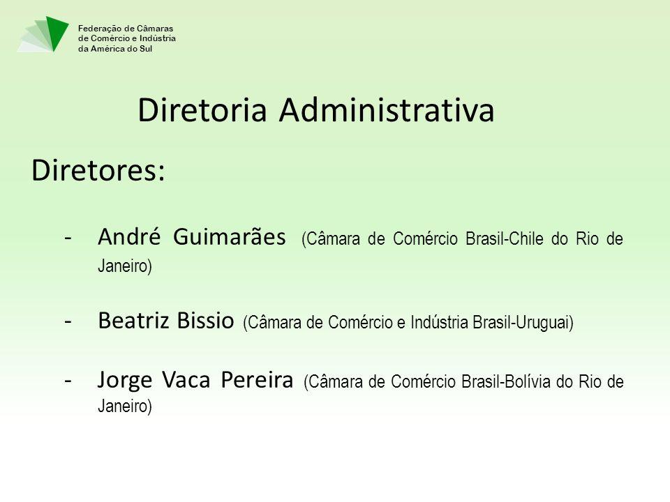 Federação de Câmaras de Comércio e Indústria da América do Sul Diretores: -André Guimarães (Câmara de Comércio Brasil-Chile do Rio de Janeiro) -Beatri