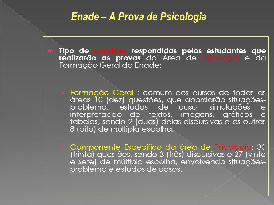 Tipo de questões respondidas pelos estudantes que realizarão as provas da Área de Psicologia e da Formação Geral do Enade : Formação Geral : comum aos