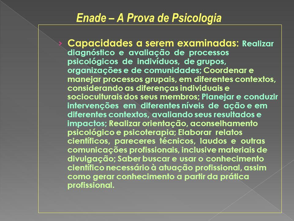 Capacidades a serem examinadas: Realizar diagnóstico e avaliação de processos psicológicos de indivíduos, de grupos, organizações e de comunidades; Co