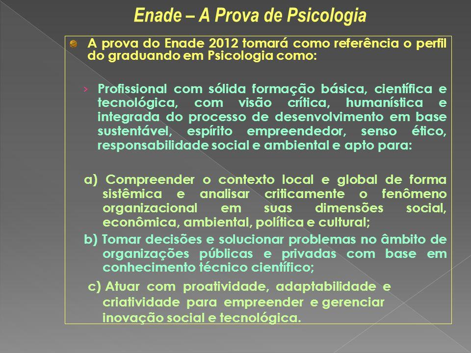 A prova do Enade 2012 tomará como referência o perfil do graduando em Psicologia como: Profissional com sólida formação básica, científica e tecnológi