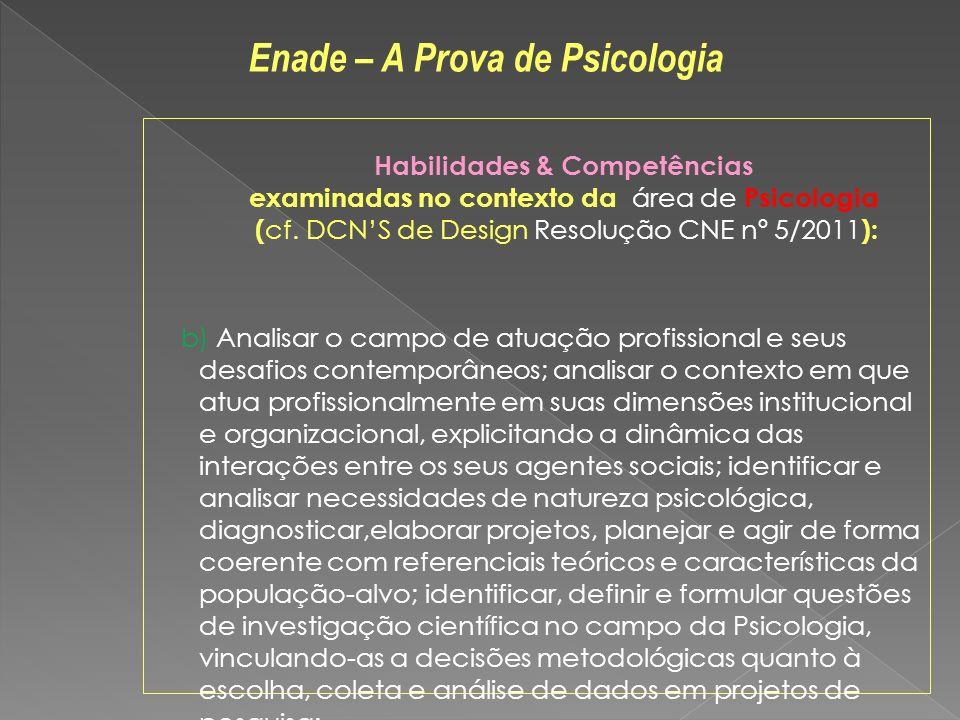 Habilidades & Competências examinadas no contexto da área de Psicologia ( cf. DCNS de Design Resolução CNE nº 5/2011 ): b) Analisar o campo de atuação