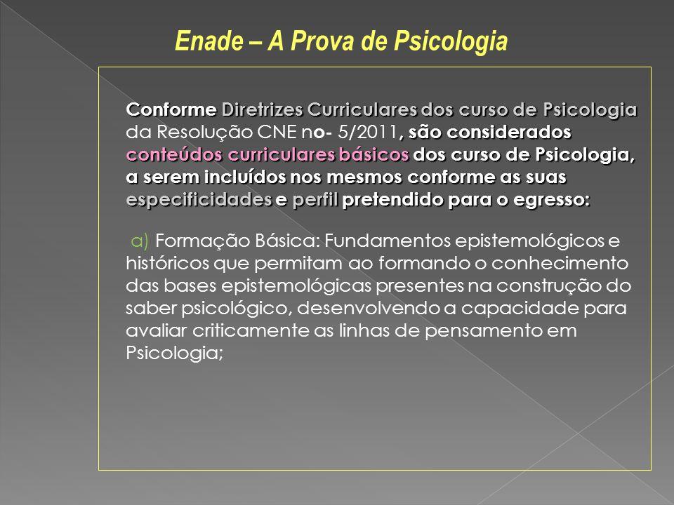 Conforme Diretrizes Curriculares dos curso de Psicologia, são considerados conteúdos curriculares básicos dos curso de Psicologia, a serem incluídos n