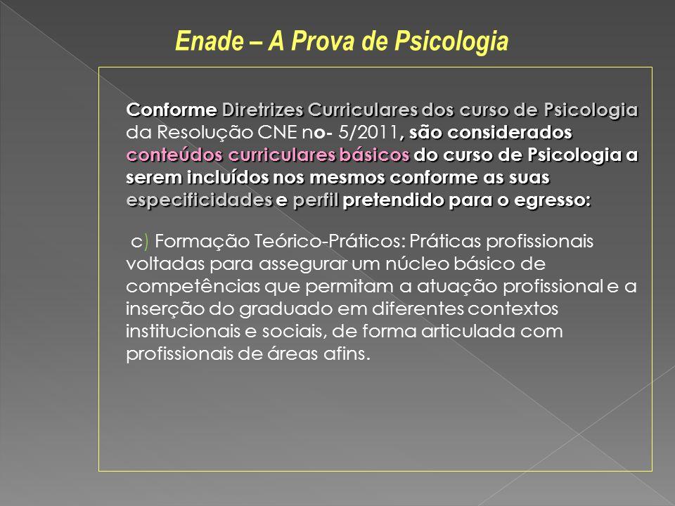 Conforme Diretrizes Curriculares dos curso de Psicologia, são considerados conteúdos curriculares básicos do curso de Psicologia a serem incluídos nos
