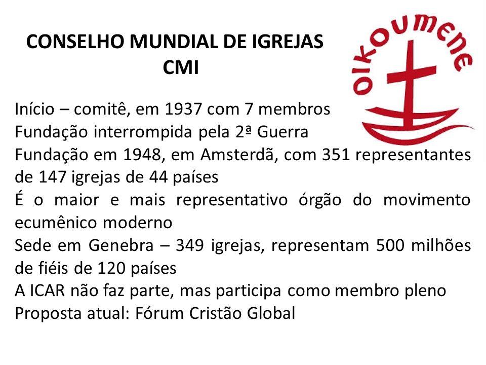 CONSELHO MUNDIAL DE IGREJAS CMI Início – comitê, em 1937 com 7 membros Fundação interrompida pela 2ª Guerra Fundação em 1948, em Amsterdã, com 351 rep