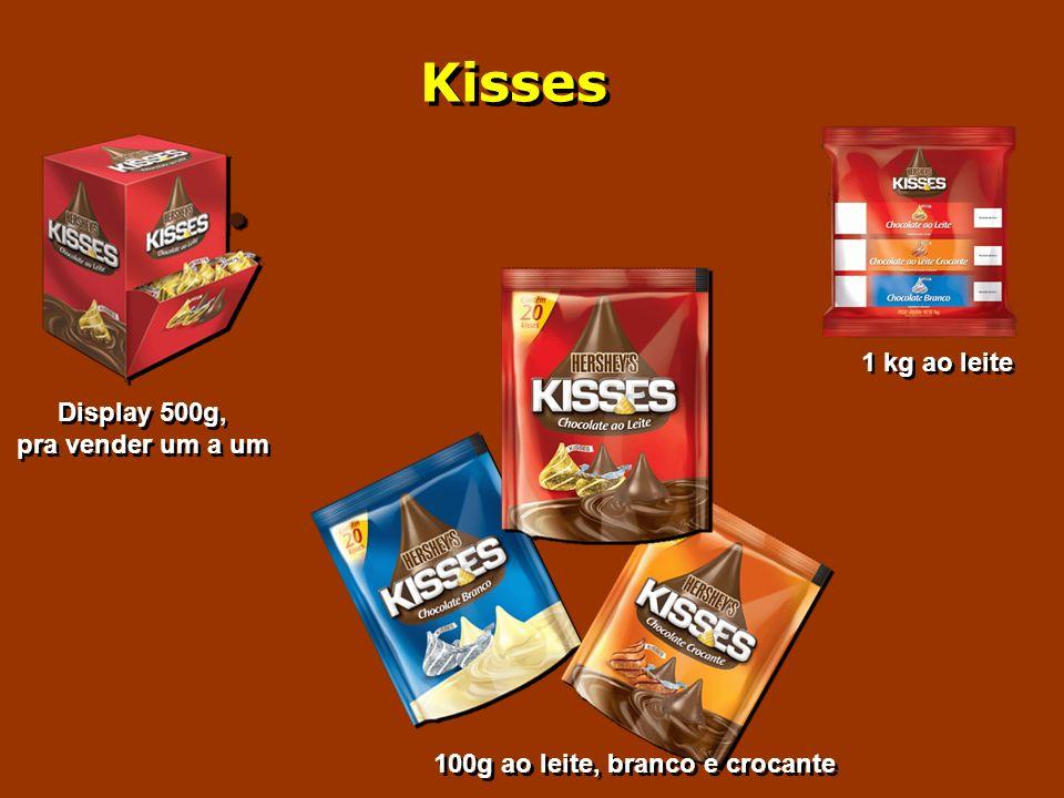 Kisses Display 500g, pra vender um a um Display 500g, pra vender um a um 1 kg ao leite 100g ao leite, branco e crocante