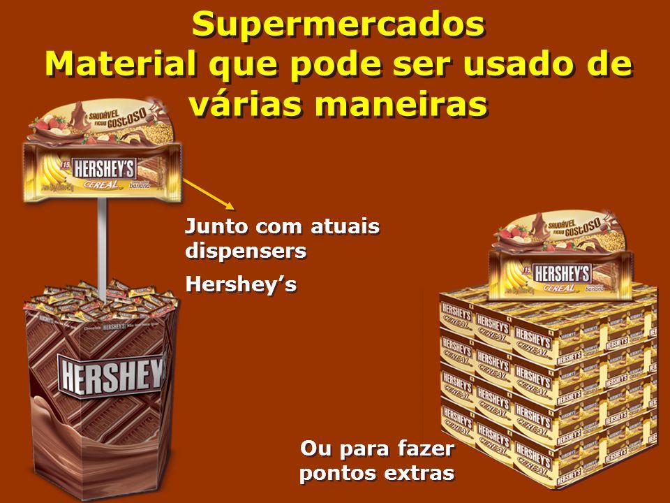 Junto com atuais dispensers Hersheys Junto com atuais dispensers Hersheys Ou para fazer pontos extras Supermercados Material que pode ser usado de vár