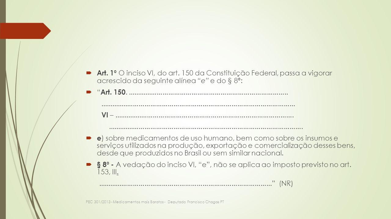 Art. 1º O inciso VI, do art. 150 da Constituição Federal, passa a vigorar acrescido da seguinte alínea e e do § 8º: Art. 150..........................
