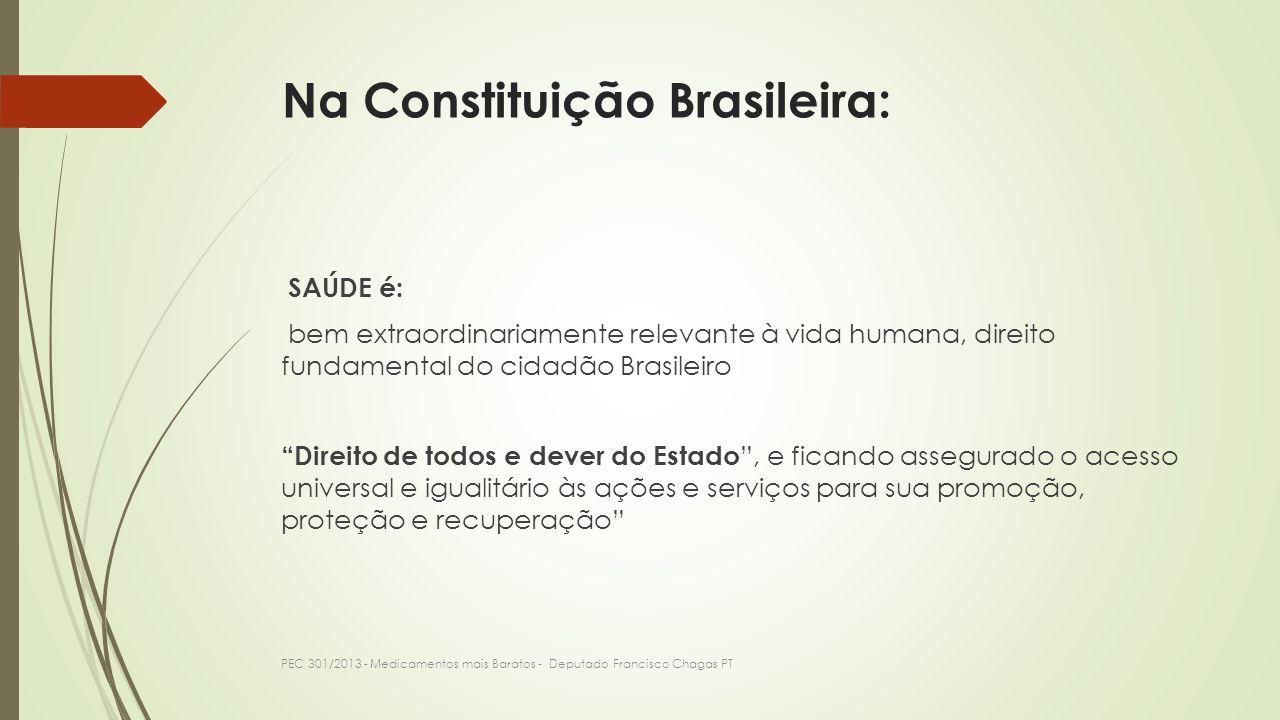 O Brasil tem a mais alta carga tributária do mundo de impostos sobre os Medicamentos de uso humano: 33,9% PEC 301/2013 - Medicamentos mais Baratos - Deputado Francisco Chagas PT