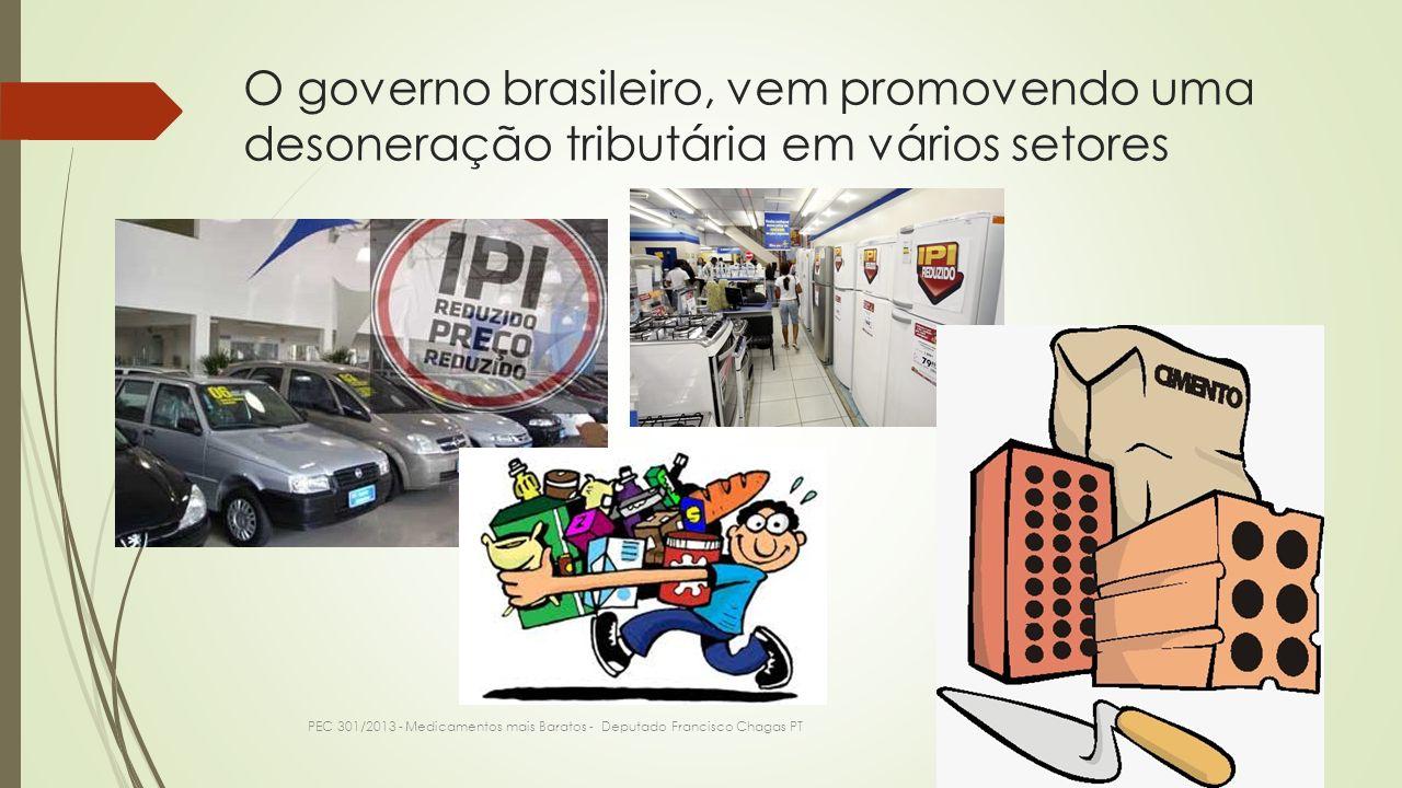 O governo brasileiro, vem promovendo uma desoneração tributária em vários setores PEC 301/2013 - Medicamentos mais Baratos - Deputado Francisco Chagas