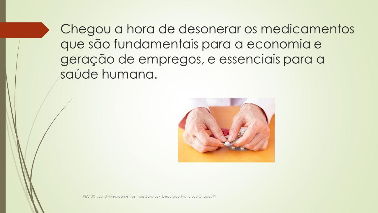 Chegou a hora de desonerar os medicamentos que são fundamentais para a economia e geração de empregos, e essenciais para a saúde humana. PEC 301/2013
