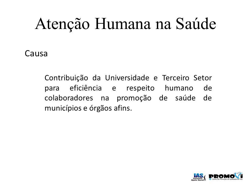Causa Contribuição da Universidade e Terceiro Setor para eficiência e respeito humano de colaboradores na promoção de saúde de municípios e órgãos afi