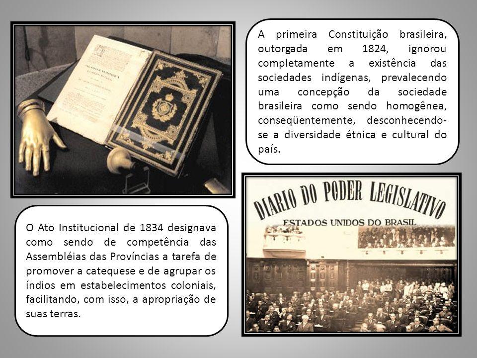A primeira Constituição brasileira, outorgada em 1824, ignorou completamente a existência das sociedades indígenas, prevalecendo uma concepção da soci