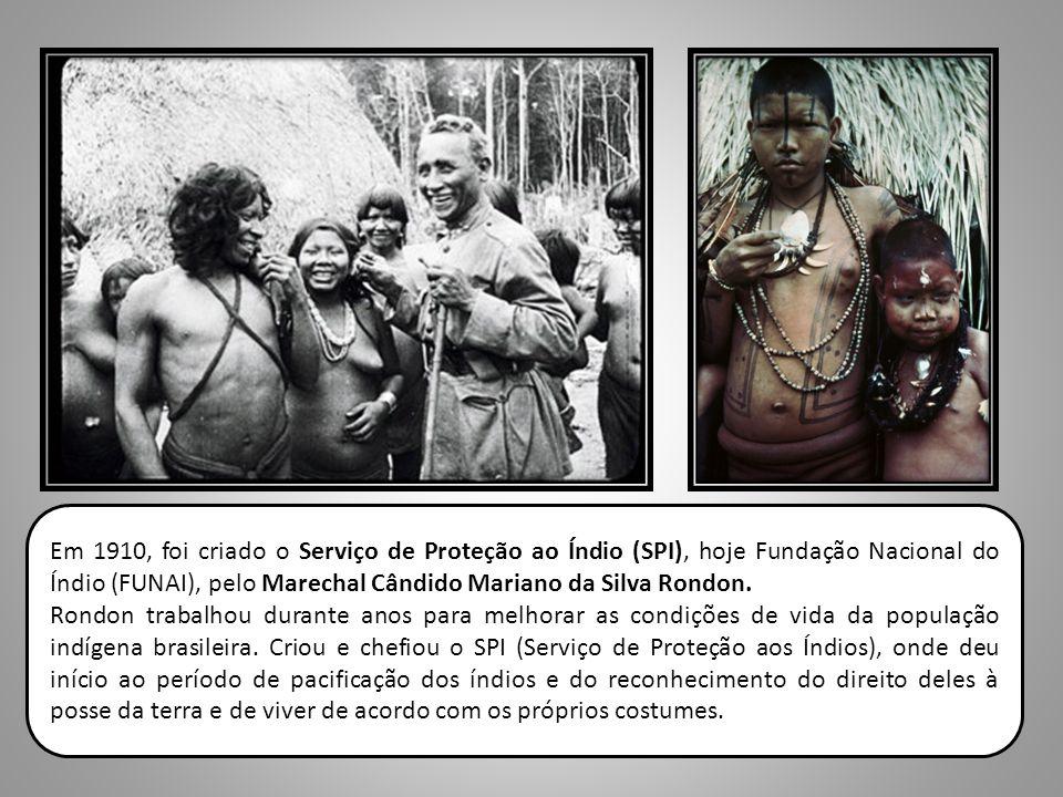 Em 1910, foi criado o Serviço de Proteção ao Índio (SPI), hoje Fundação Nacional do Índio (FUNAI), pelo Marechal Cândido Mariano da Silva Rondon. Rond