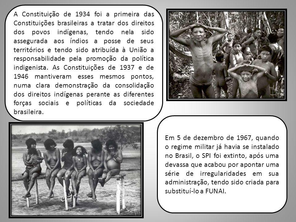 A Constituição de 1934 foi a primeira das Constituições brasileiras a tratar dos direitos dos povos indígenas, tendo nela sido assegurada aos índios a