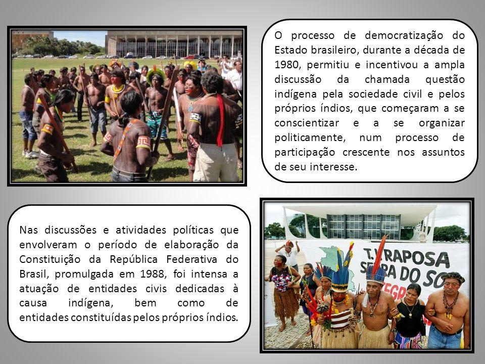 O processo de democratização do Estado brasileiro, durante a década de 1980, permitiu e incentivou a ampla discussão da chamada questão indígena pela