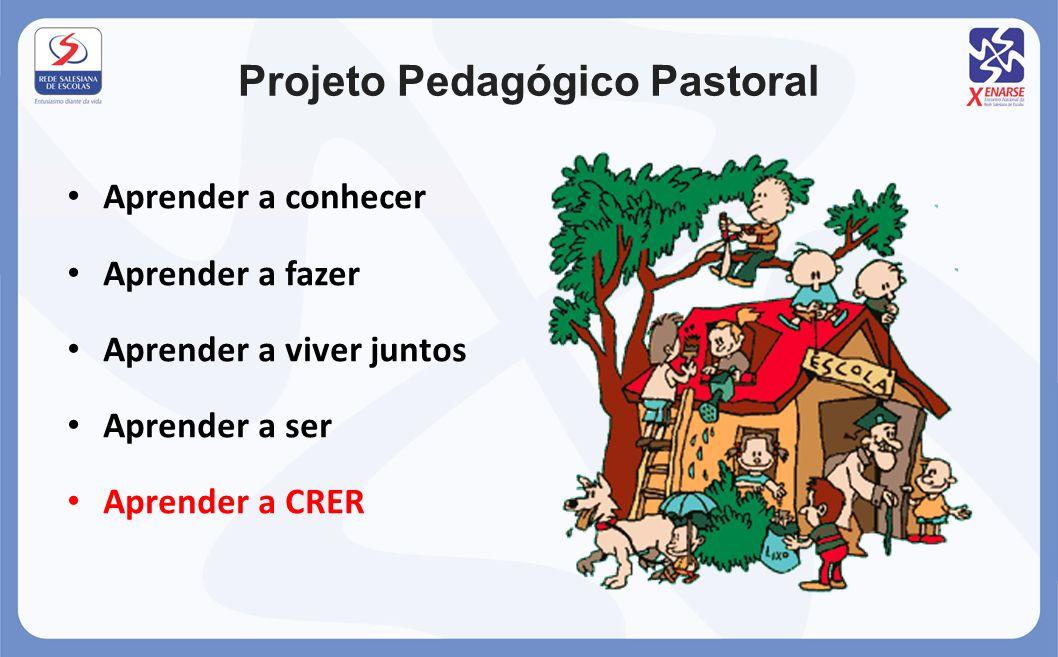 Projeto Pedagógico Pastoral Aprender a conhecer Aprender a fazer Aprender a viver juntos Aprender a ser Aprender a CRER