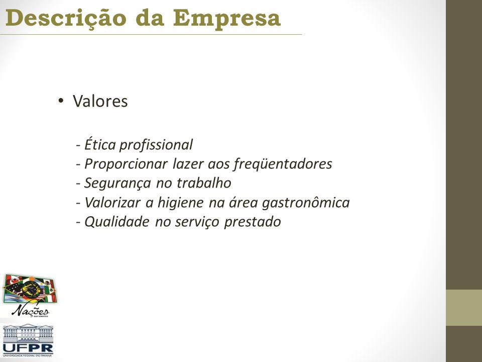 Descrição da Empresa Valores - Ética profissional - Proporcionar lazer aos freqüentadores - Segurança no trabalho - Valorizar a higiene na área gastro