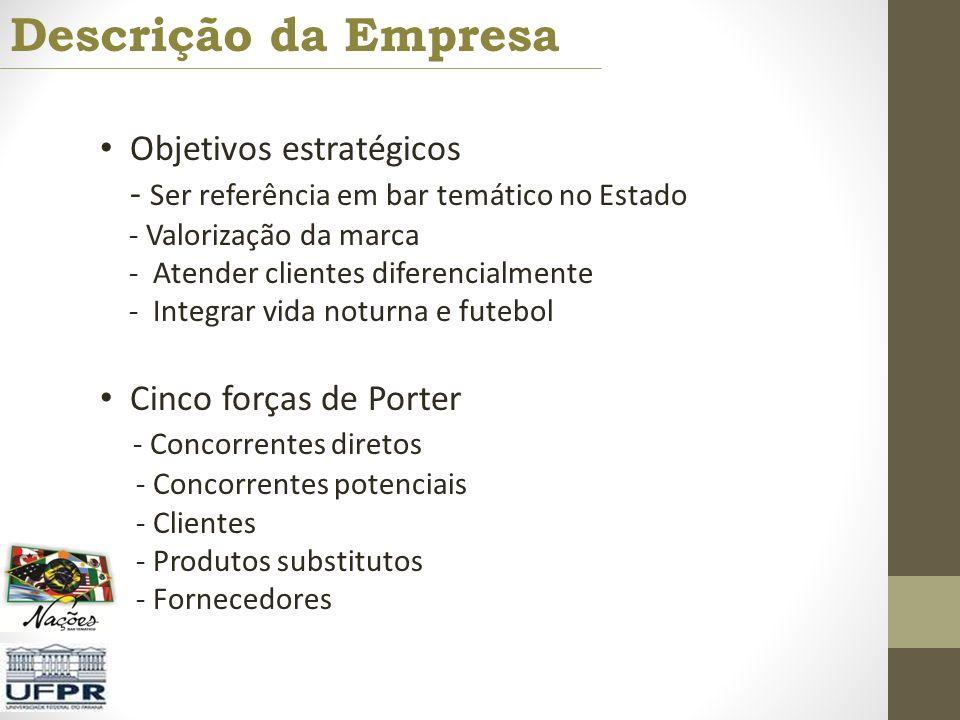 Descrição da Empresa Objetivos estratégicos - Ser referência em bar temático no Estado - Valorização da marca - Atender clientes diferencialmente - In