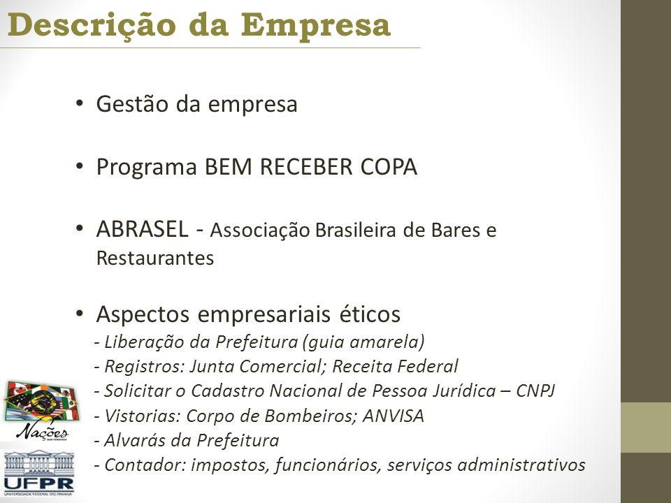 Descrição da Empresa Gestão da empresa Programa BEM RECEBER COPA ABRASEL - Associação Brasileira de Bares e Restaurantes Aspectos empresariais éticos
