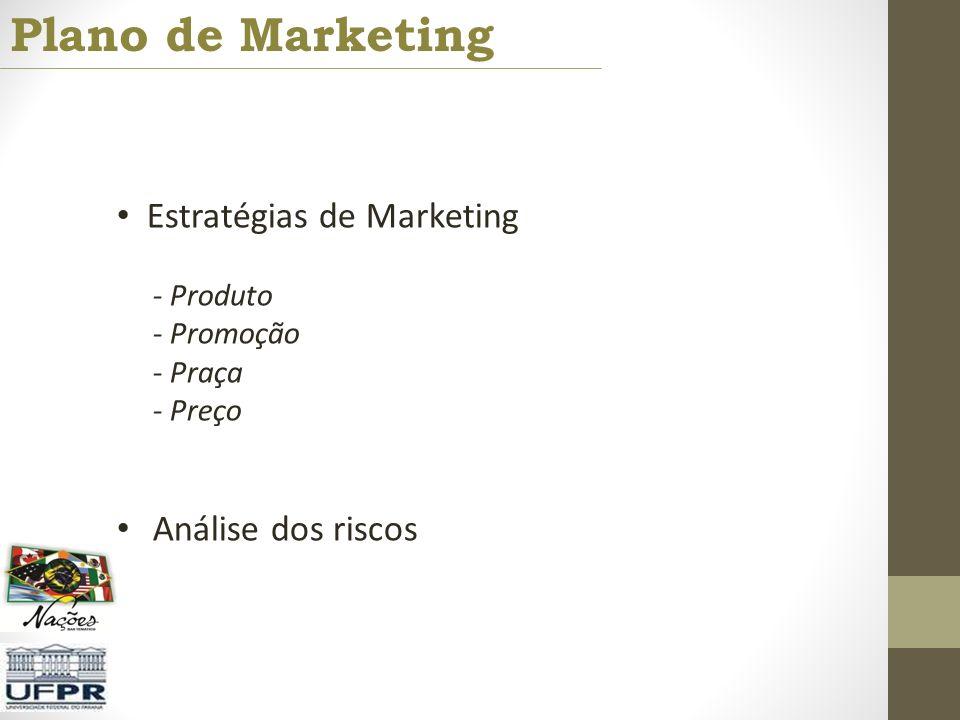 Plano de Marketing Estratégias de Marketing - Produto - Promoção - Praça - Preço Análise dos riscos