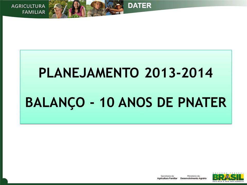 PLANEJAMENTO 2013-2014 BALANÇO - 10 ANOS DE PNATER PLANEJAMENTO 2013-2014 BALANÇO - 10 ANOS DE PNATER DATER