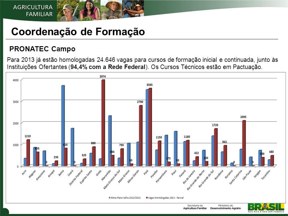 Coordenação de Formação PRONATEC Campo Para 2013 já estão homologadas 24.646 vagas para cursos de formação inicial e continuada, junto às Instituições Ofertantes (94,4% com a Rede Federal).