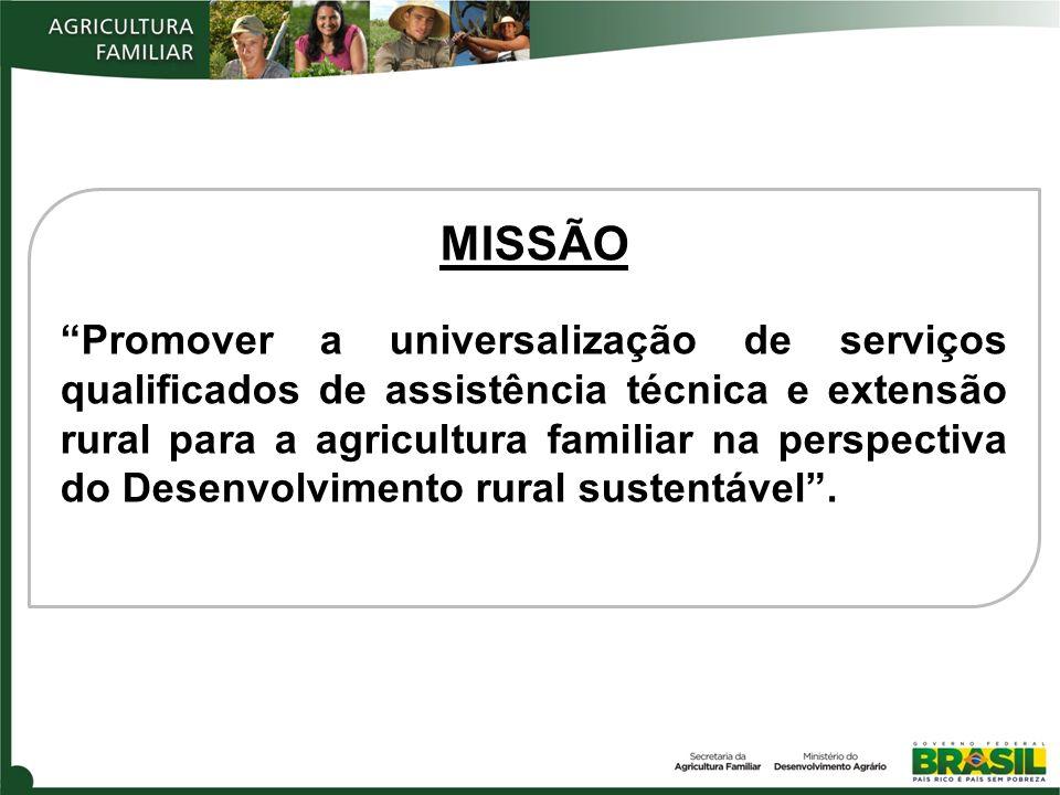 MISSÃO Promover a universalização de serviços qualificados de assistência técnica e extensão rural para a agricultura familiar na perspectiva do Desenvolvimento rural sustentável.