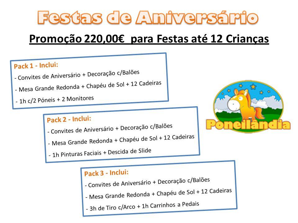Promoção 220,00 para Festas até 12 Crianças Pack 1 - Inclui: - Convites de Aniversário + Decoração c/Balões - Mesa Grande Redonda + Chapéu de Sol + 12