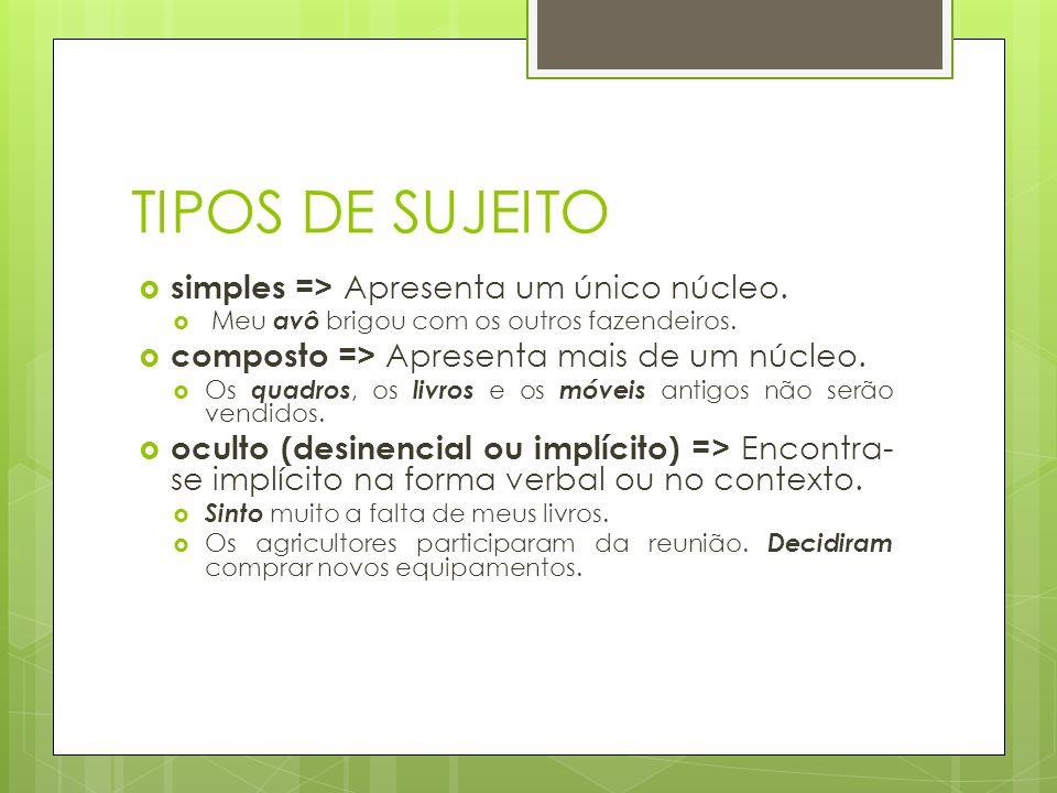 TIPOS DE PREDICADOS (Cont.) Predicado verbo-nominal Aquele que possui dois núcleos: um verbo significativo e um predicativo do sujeito ou do objeto.