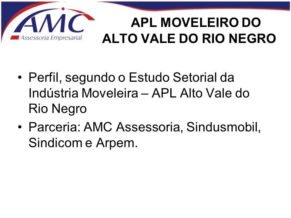 APL MOVELEIRO DO ALTO VALE DO RIO NEGRO Perfil, segundo o Estudo Setorial da Indústria Moveleira – APL Alto Vale do Rio Negro Parceria: AMC Assessoria, Sindusmobil, Sindicom e Arpem.