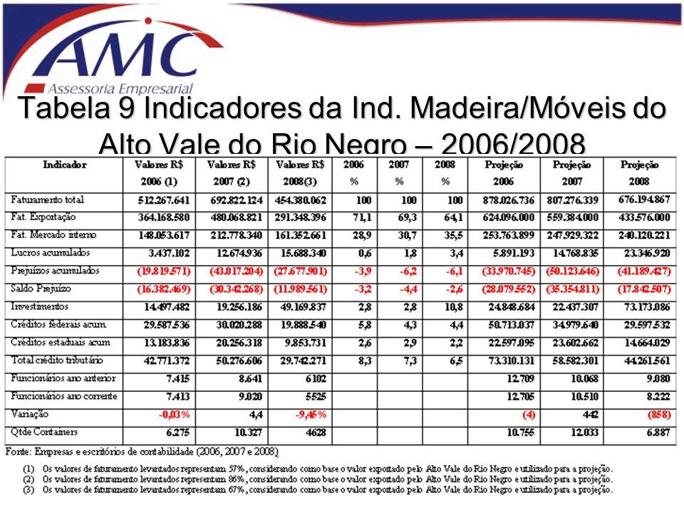 Tabela 9 Indicadores da Ind. Madeira/Móveis do Alto Vale do Rio Negro – 2006/2008