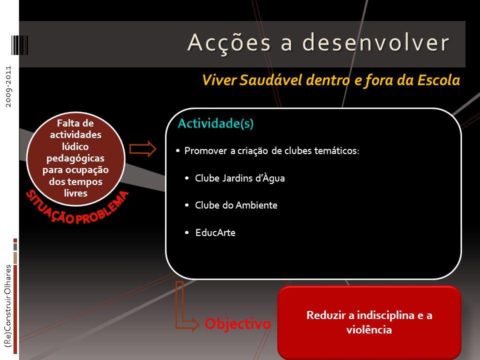(Re)Construir Olhares2009-2011 Acções a desenvolver Promover a criação de clubes temáticos: Clube Jardins dÀgua Clube do Ambiente EducArte Falta de ac