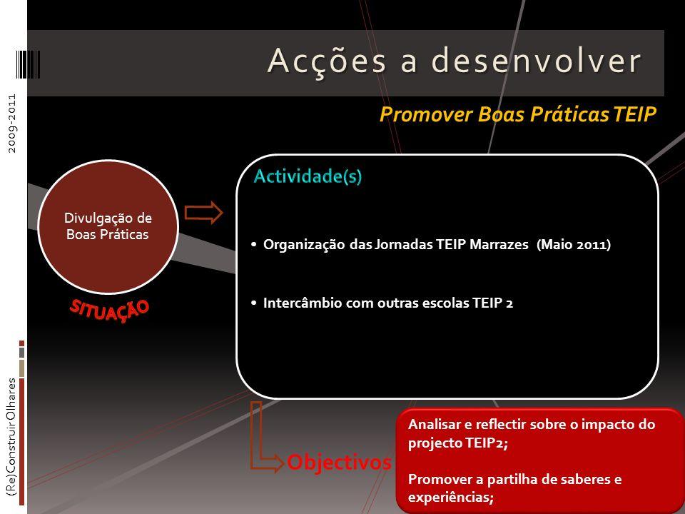 (Re)Construir Olhares2009-2011 Acções a desenvolver Organização das Jornadas TEIP Marrazes (Maio 2011) Intercâmbio com outras escolas TEIP 2 Divulgaçã