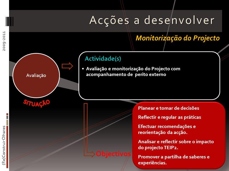 (Re)Construir Olhares2009-2011 Acções a desenvolver Avaliação e monitorização do Projecto com acompanhamento de perito externo Avaliação Monitorização do Projecto Planear e tomar de decisões Reflectir e regular as práticas Efectuar recomendações e reorientação da acção.