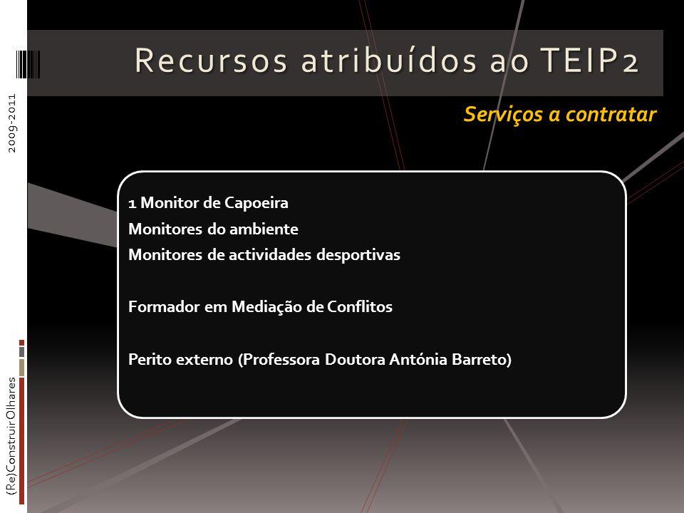 (Re)Construir Olhares2009-2011 Recursos atribuídos ao TEIP2 1 Monitor de Capoeira Monitores do ambiente Monitores de actividades desportivas Formador