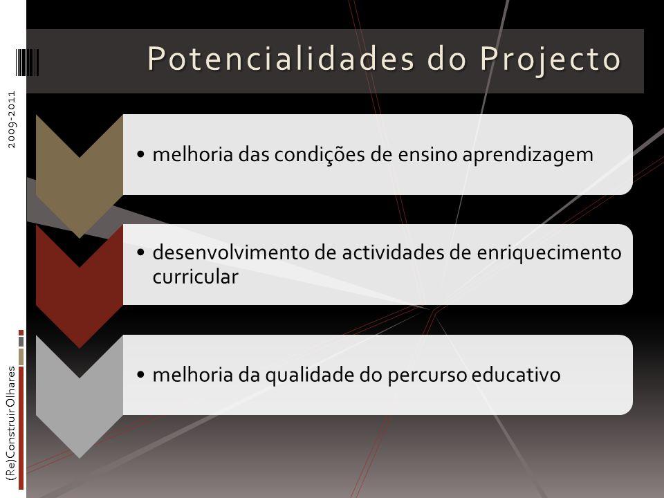 (Re)Construir Olhares2009-2011 Potencialidades do Projecto melhoria das condições de ensino aprendizagem desenvolvimento de actividades de enriquecimento curricular melhoria da qualidade do percurso educativo