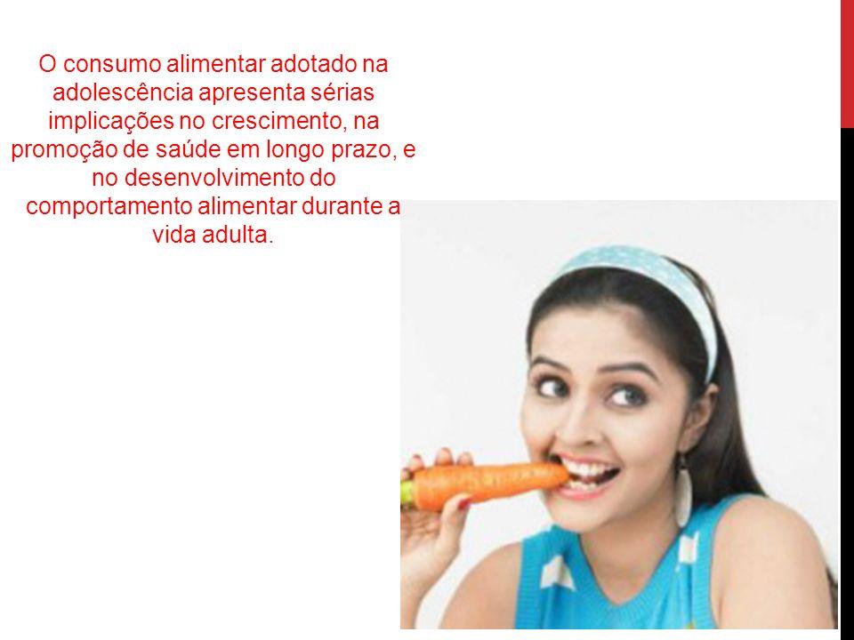 O consumo alimentar adotado na adolescência apresenta sérias implicações no crescimento, na promoção de saúde em longo prazo, e no desenvolvimento do