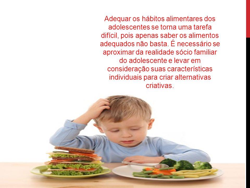 Adequar os hábitos alimentares dos adolescentes se torna uma tarefa difícil, pois apenas saber os alimentos adequados não basta. É necessário se aprox